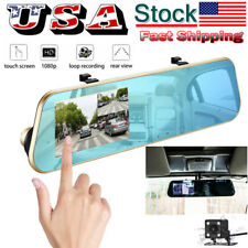HD 1080P Touch Mirror Dash Cam Car Rear View Camera Video DVR Dual Lens Parking