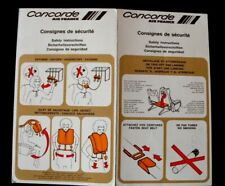 CONCORDE Consignes de sécurité 1975 en 4 langues original Très Rare AIR FRANCE