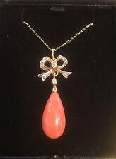 18ct Oro Coral Y Diamante & Cadena Collar/Colgante