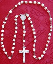 ORIGINAL MOTHER OF PEARL BEADS ROSARY, CRUCIFIX CROSS FROM JERUSALEM #38