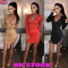 UK Women Sexy Low Cut Bodycon Dress Ladies Side Bandage Party Club Mini Dress