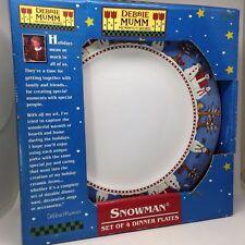 "Debbie Mumm Snowman Set 4 DINNER PLATES 11"" Sakura Oneida Target Dishwasher Safe"