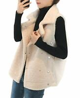Women's Warm Notched Collar Fuzzy Lamb Wool Snap Up Gilet Vest White M