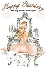 Personalised ladies girls teenage birthday card any name/age/relation