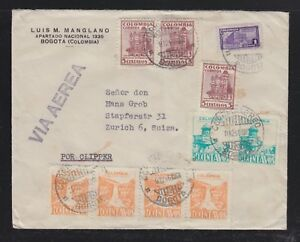 COLOMBIA 1946 CLIPPER AIRMAIL COVER BOGOTA TO ZURICH SWITZERLAND