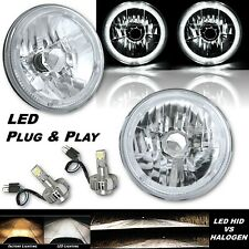 "7"" White LED Halo Angel Eye 12V Headlight Headlamp w/ 6k LED H4 Light Bulbs Pair"