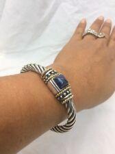 Beautiful Italy Flli Menegatti Sterling Silver 925 2 Tones Lapis Hinge bracelet