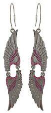 Zest Wing Swarovski Crystal Drop Pierced Earrings Purple