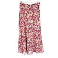 Vintage Womens Reversible Pink Floral Back Waist Elastic Flowy Maxi Full Skirt