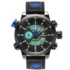 Luxury Black Stainless Steel LED Day Date Quartz Analog Mens Fashion Sport Watch