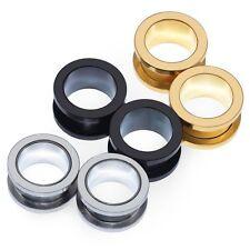 2X Gauges Steel Screw Tunnels Ear Plug Expander Stretcher Body Piercing Jewelry