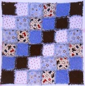 Baby Cowboy Blue Handmade Rag Quilt* - Shower Gift Idea