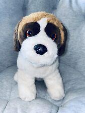 Vintage Dog Plush By Dakin Stuffed Animal White Brown 1980s 90s Retro Puppy Dogg