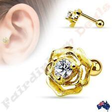 316L Surgical Steel Gold Ion Plated Tragus/Cartilage Stud with Centre Gem Rose