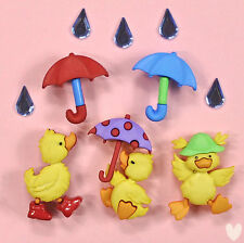 Dress it Up Buttons Puddle Jumpers  - 8978 - Ducks Ducklings Umbrellas
