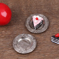2Pcs Dollhouse Mini Metal Carved Plate Model Toy Restaurant Scene AccessoriesTCR