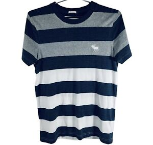 ABERCROMBIE & FITCH New York Mens T-Shirt White Blue Stripes Size M