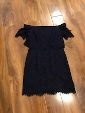 Topshop Navy Blue Lace Off The Shoulder Dress Size 10