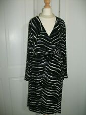 PLANET black/white/grey soft jersey wrap/twist detail tea day work dress 12/14
