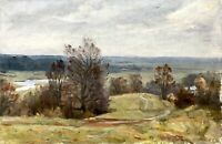 painting art IMPRESSIONISM old Autumn vintage soviet lyrical landscape Yusov