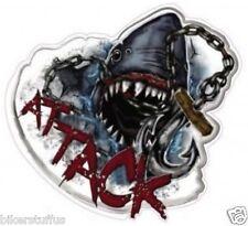SHARK ATTACK HARD HAT STICKER TOOLBOX LAPTOP STICKER  WINDOW STICKER