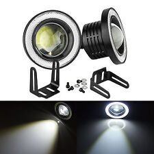 "2x 3.5"" COB LED Fog Light Projector Car Lamp White Angel Eye Halo Ring DRL Bulb"