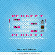 Peugeot Tandem Bicycle Decals - Transfers - Stickers - Pink & White - Set 762