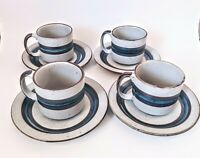 Set Of 4 Vintage Hand Crafted Oven To Table Otagiri Horizon Cup & Saucer Sets