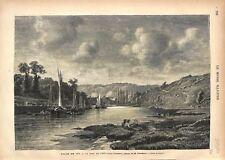 Port de Pont-Aven Finistère Bretagne Tableau de Grandsire Peintre GRAVURE 1876