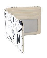 Nixon Showdown Arty White Leather BiFold Wallet Coin Pocket Card Pocket