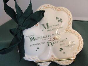 Celtic Blessings - Shamrock Ornament - Crackle Glazed Ceramic - MIB - Z478