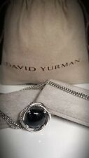 David Yurman Sterling Silver 14mm Infinity  Pendant with Black Onix. Chain 17""