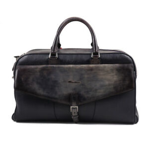 NWT $2095 SANTONI Dark Navy Blue Patina Leather Weekend Bag