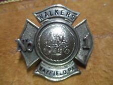 "Antique Original Mayfield Pennsylvania WALKERS (HOSE CO) No 1 Badge 2"" tall"