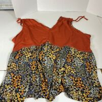 Ava James Womens Blouse Multicolor Floral Sleeveless Stretch Top Plus 3X New