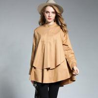 Plus size Womens casual shirts Loose thin shirt Irregular shirt Long sleeve tops