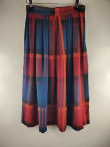 TJ Vintage Women Skirt Check Print Aline Skater Wool Blend Blogger Winter UK 6