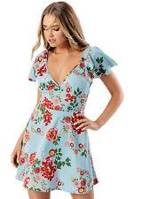 New Womans ladies blue floral print V neck summer dress size 8