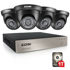 ZOSI 8CH 1080N HDMI DVR Video Security System 1TB HDD and 4 HD 720p Dome Cameras