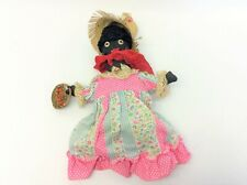 Antique Old Cloth Black Woman Straw Hat Dress Doll Free Standing Used