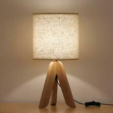 Small Bedside Table Lamp Wooden Tripod Nightstand Lamp...