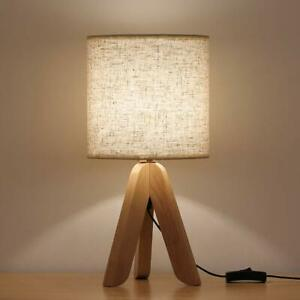 Small Bedside Table Lamp Wooden Tripod Nightstand Lamp with Fabric Linen Shade