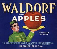 APPLE CRATE LABEL WALDORF YAKIMA BOSTON  DECO BELLBOY ORIGINAL VINTAGE 1930S