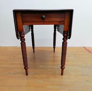 antiker Regency Tisch mit Schubladen Klappbar Mahagoni 1820er (A2)