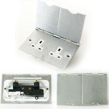 Brushed Steel Double Floor Plug Socket Outlet - 1 Gang UK Electrical 13A Mains