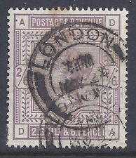 GB 1884 SG178 QV 2/6d LILAC GOOD-FINE USED LETTERS 'DA'