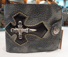 Mens Biker wallet/Skull wallet/Gothic/leather wallet-Cross (Grey-silver) NWT