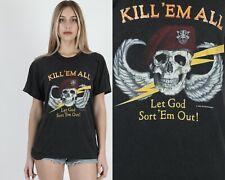 Vtg 80s JRS Enterprises Motorcycle Biker Kill 'Em All Military Skull Tee T Shirt