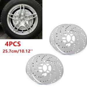 4Pcs Silver Tone Aluminum Cross Drilled Car Wheel Disc Brake Rotor Cover 10.12''
