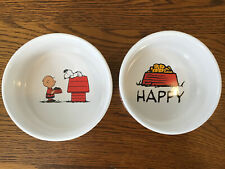 "Matching Set Of Peanuts Snoopy's Happy Dog Life  Pet Bowls Stoneware 4.5"" W New"